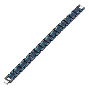 BLUE STRIPE CARBON FIBER BLACK MENS BRACELET